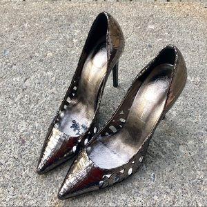Jeffery Campbell metallic cut out heels silver 9